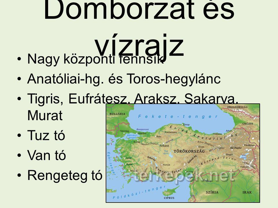Domborzat és vízrajz Nagy központi fennsík Anatóliai-hg. és Toros-hegylánc Tigris, Eufrátesz, Araksz, Sakarya, Murat Tuz tó Van tó Rengeteg tó