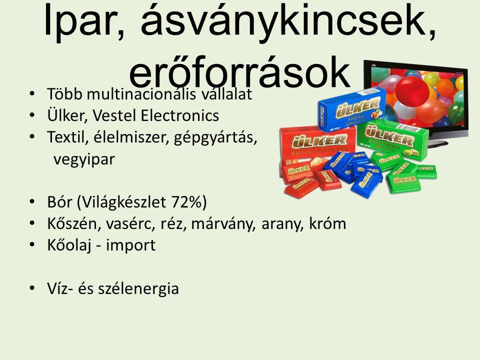 Ipar, ásványkincsek, erőforrások Több multinacionális vállalat Ülker, Vestel Electronics Textil, élelmiszer, gépgyártás, vegyipar Bór (Világkészlet 72