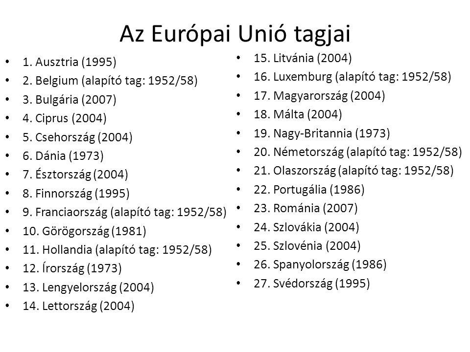 Az Európai Unió tagjai 1. Ausztria (1995) 2. Belgium (alapító tag: 1952/58) 3. Bulgária (2007) 4. Ciprus (2004) 5. Csehország (2004) 6. Dánia (1973) 7
