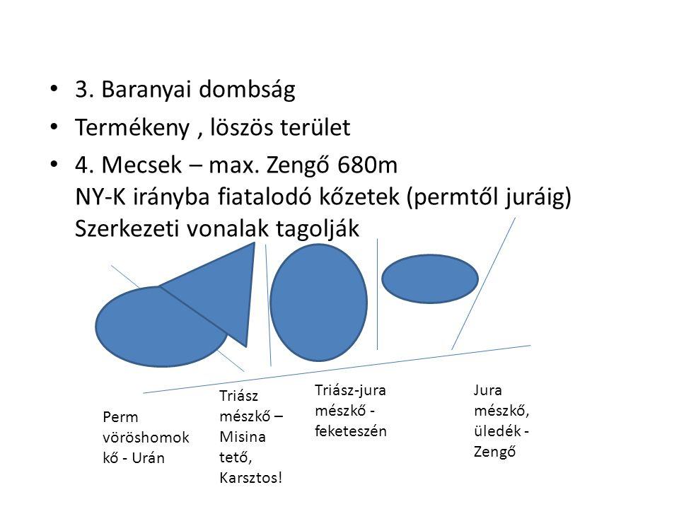 3. Baranyai dombság Termékeny, löszös terület 4. Mecsek – max. Zengő 680m NY-K irányba fiatalodó kőzetek (permtől juráig) Szerkezeti vonalak tagolják