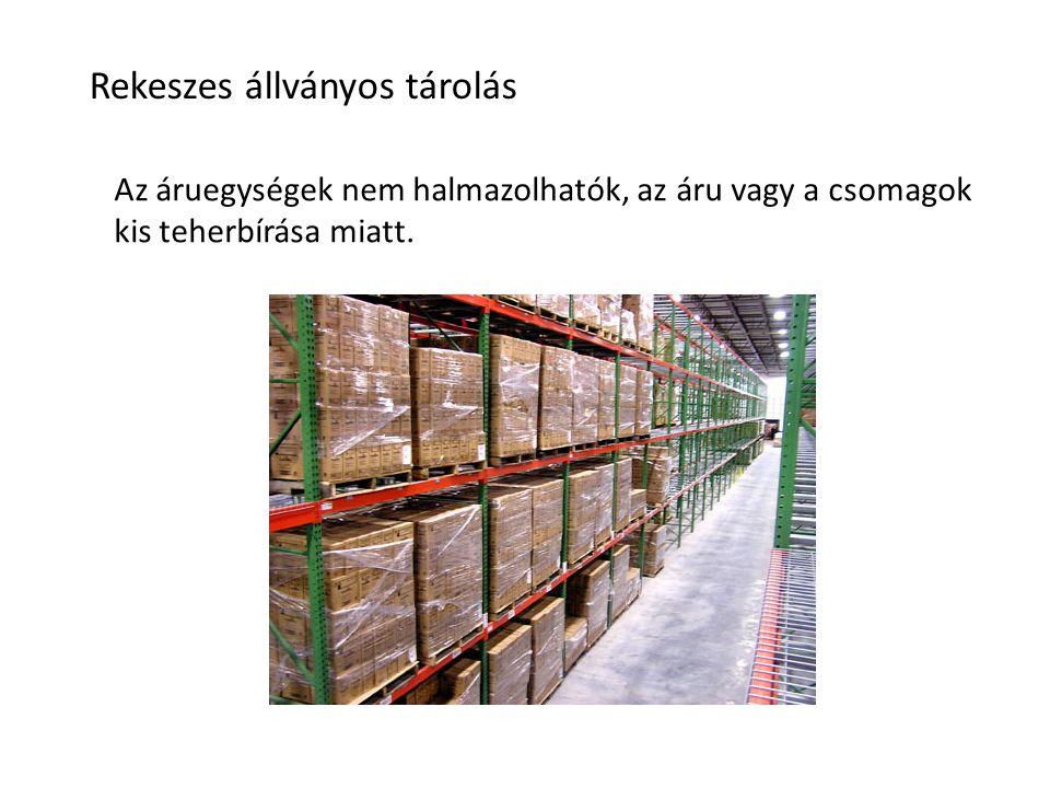 Rekeszes állványos tárolás Az áruegységek nem halmazolhatók, az áru vagy a csomagok kis teherbírása miatt.
