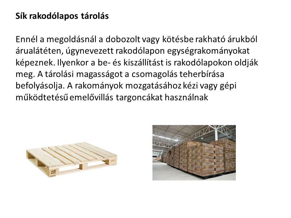 Sík rakodólapos tárolás Ennél a megoldásnál a dobozolt vagy kötésbe rakható árukból árualátéten, úgynevezett rakodólapon egységrakományokat képeznek.