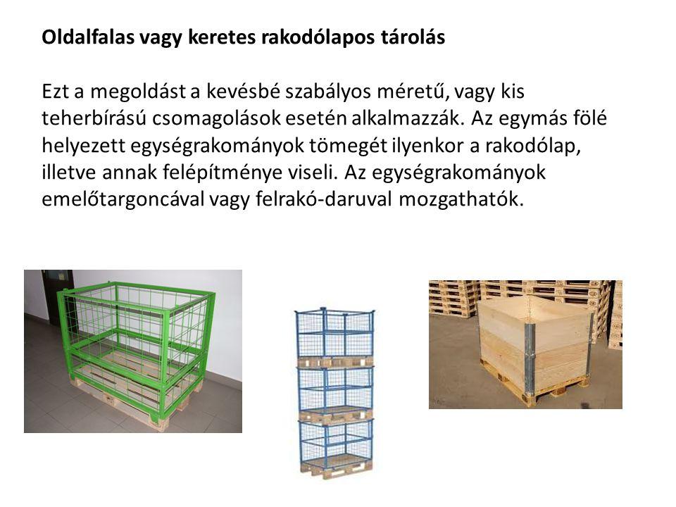 Oldalfalas vagy keretes rakodólapos tárolás Ezt a megoldást a kevésbé szabályos méretű, vagy kis teherbírású csomagolások esetén alkalmazzák. Az egymá
