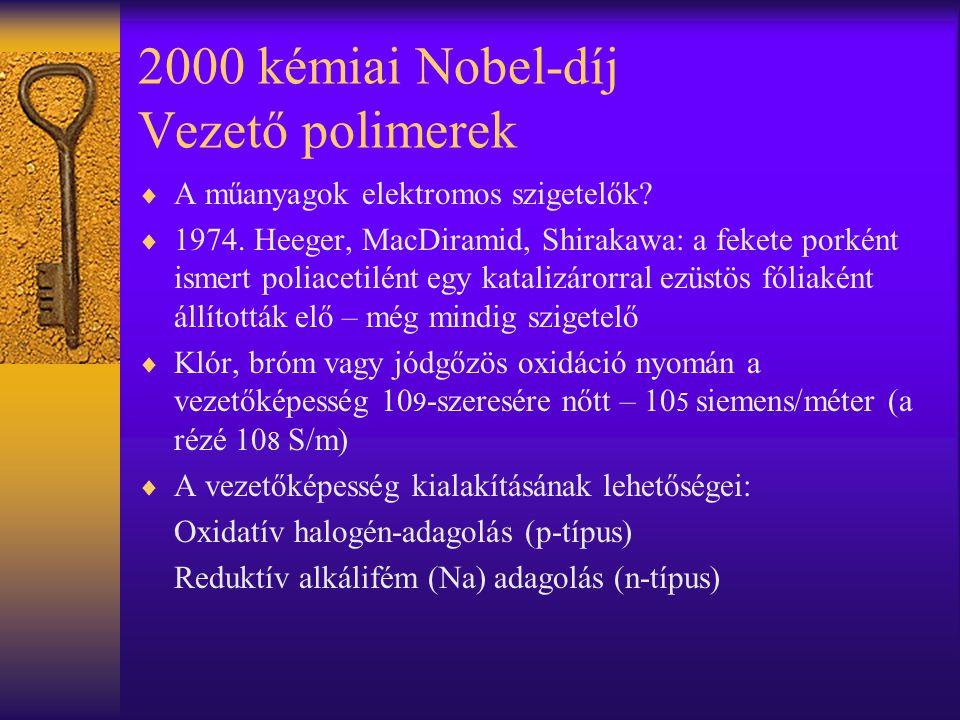 2000 kémiai Nobel-díj Vezető polimerek  A műanyagok elektromos szigetelők?  1974. Heeger, MacDiramid, Shirakawa: a fekete porként ismert poliacetilé
