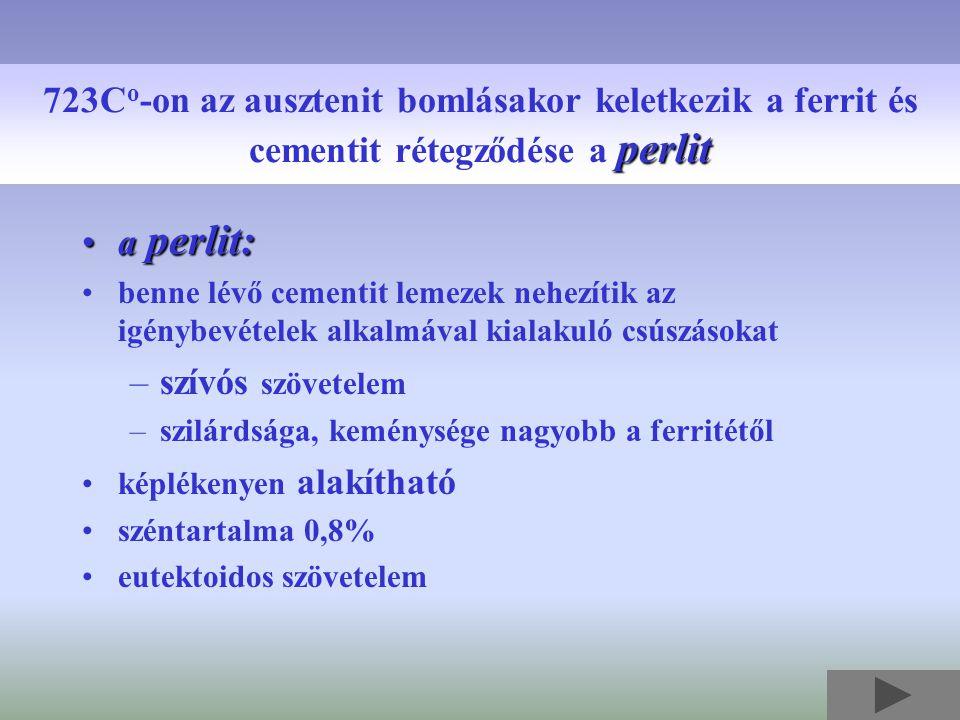 a perlit:a perlit: benne lévő cementit lemezek nehezítik az igénybevételek alkalmával kialakuló csúszásokat –szívós szövetelem –szilárdsága, keménység