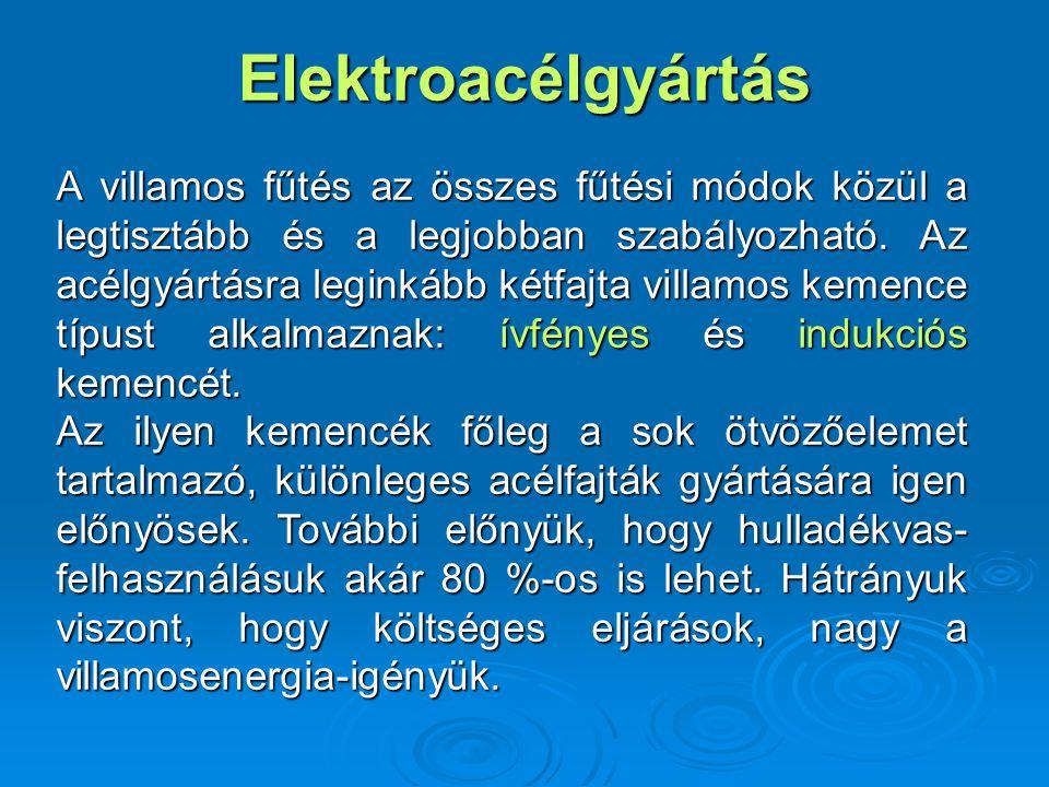Elektroacélgyártás A villamos fűtés az összes fűtési módok közül a legtisztább és a legjobban szabályozható. Az acélgyártásra leginkább kétfajta villa