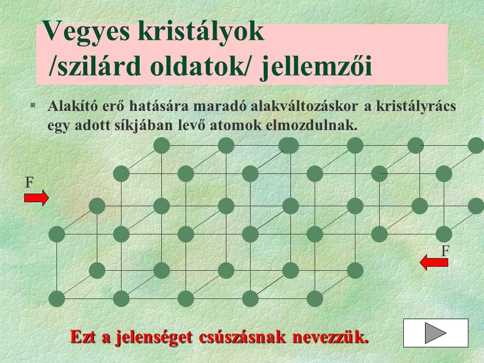 §Alakító erő hatására maradó alakváltozáskor a kristályrács egy adott síkjában levő atomok elmozdulnak. Vegyes kristályok /szilárd oldatok/ jellemzői