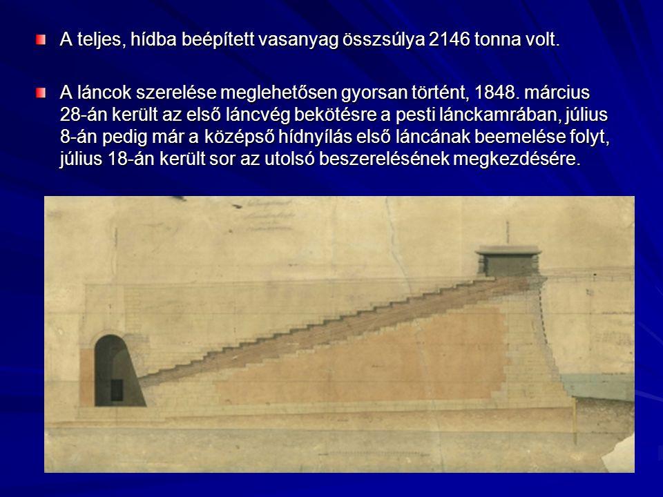 A teljes, hídba beépített vasanyag összsúlya 2146 tonna volt.