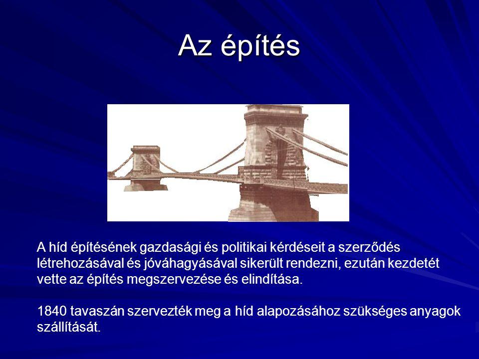 Az építés A híd építésének gazdasági és politikai kérdéseit a szerződés létrehozásával és jóváhagyásával sikerült rendezni, ezután kezdetét vette az építés megszervezése és elindítása.