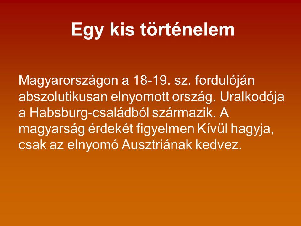 Egy kis történelem Magyarországon a 18-19. sz. fordulóján abszolutikusan elnyomott ország.