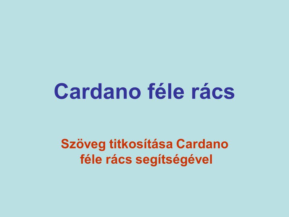 Cardano féle rács Szöveg titkosítása Cardano féle rács segítségével
