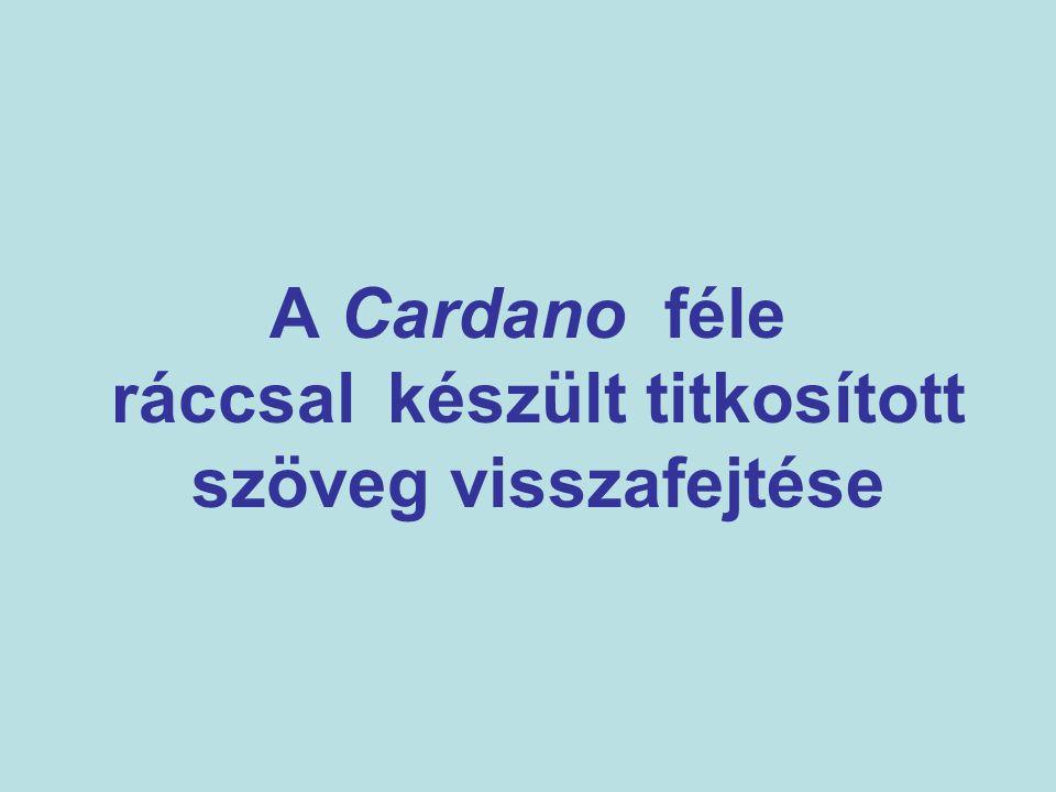 A Cardano féle ráccsal készült titkosított szöveg visszafejtése