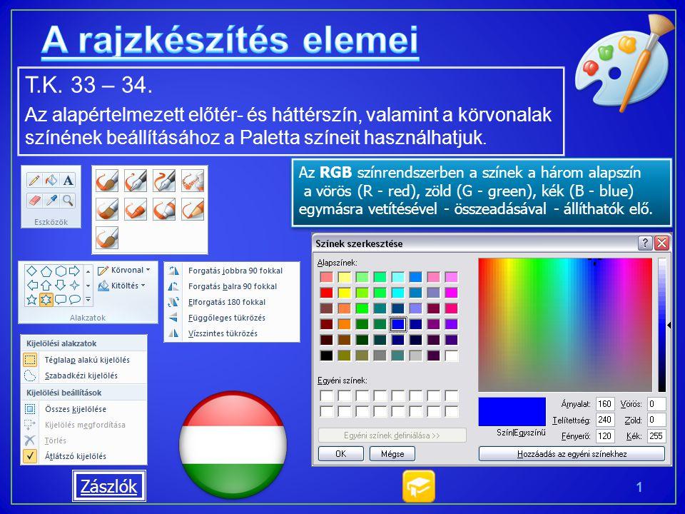 T.K. 33 – 34. Az alapértelmezett előtér- és háttérszín, valamint a körvonalak színének beállításához a Paletta színeit használhatjuk. 1 Az RGB színren