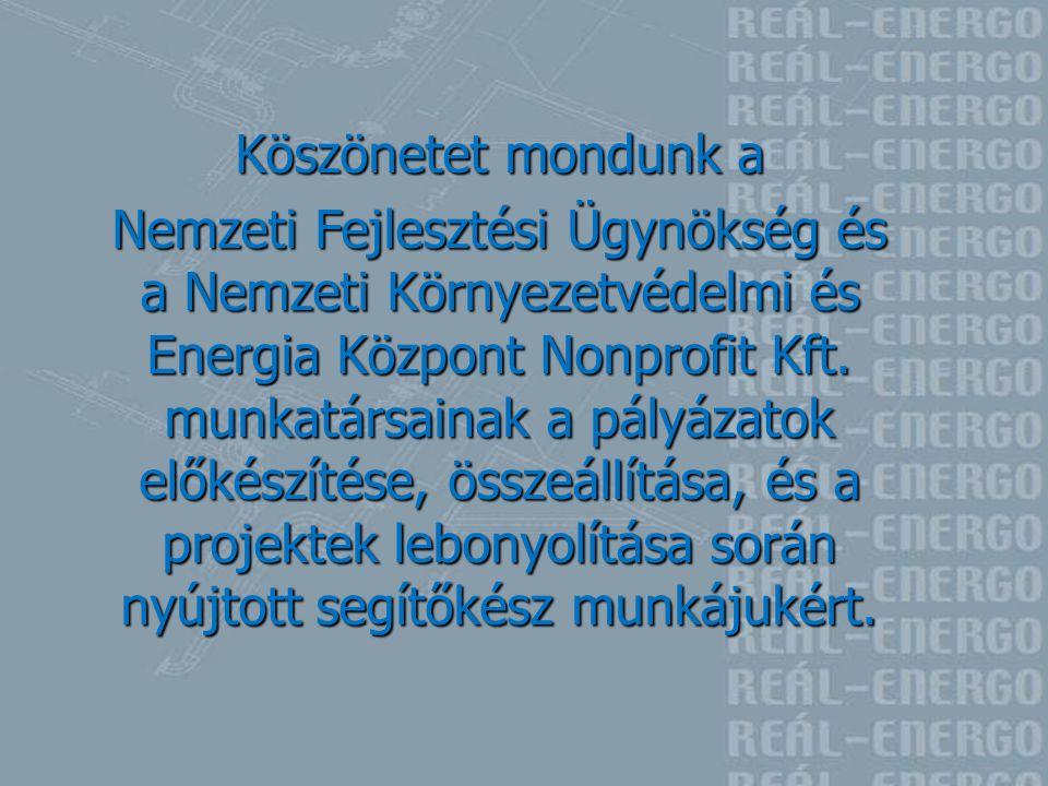 Köszönetet mondunk a Nemzeti Fejlesztési Ügynökség és a Nemzeti Környezetvédelmi és Energia Központ Nonprofit Kft. munkatársainak a pályázatok előkész
