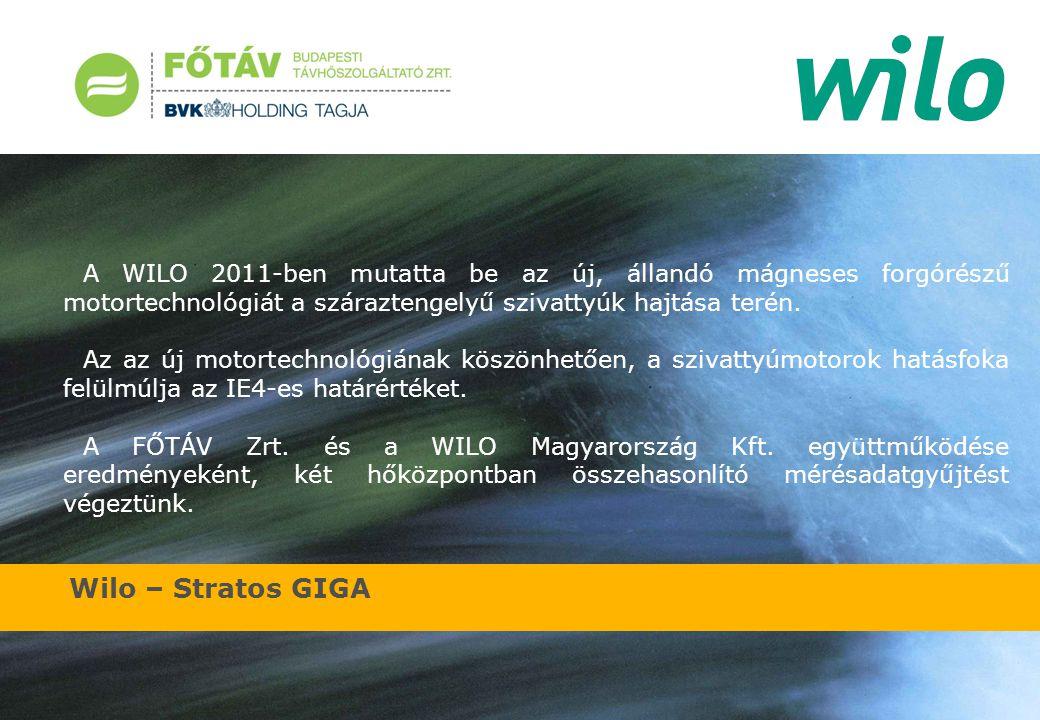 Wilo – Stratos GIGA A kiválasztott hőközpontokban mértük az eredetileg beépített szivattyú paramétereit, majd a Stratos GIGA szivattyú értékeit azonos üzemi körülmények között.