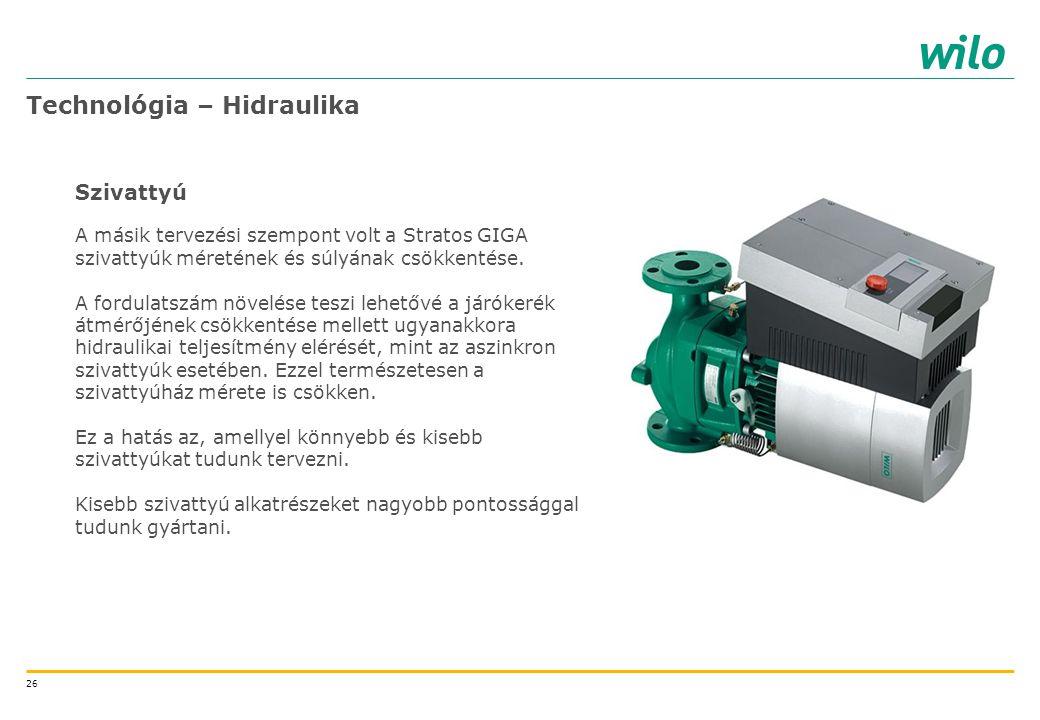 26 Technológia – Hidraulika Szivattyú A másik tervezési szempont volt a Stratos GIGA szivattyúk méretének és súlyának csökkentése. A fordulatszám növe