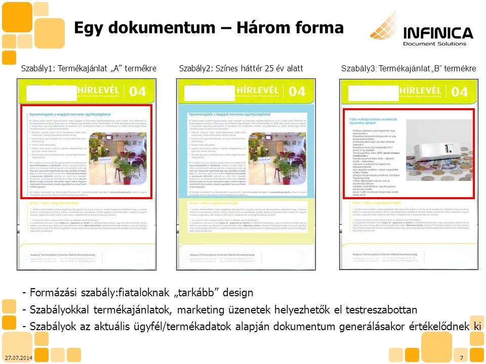 827.07.2014 - Építőkockákból felépülő dokumentumszerkezet (template part) - Építőkockák újrafelhasználhatók (repository) - Egy helyen változtatva minden dokumentumsablonban egyszerre módosíthatók Újrafelhasználhatóság