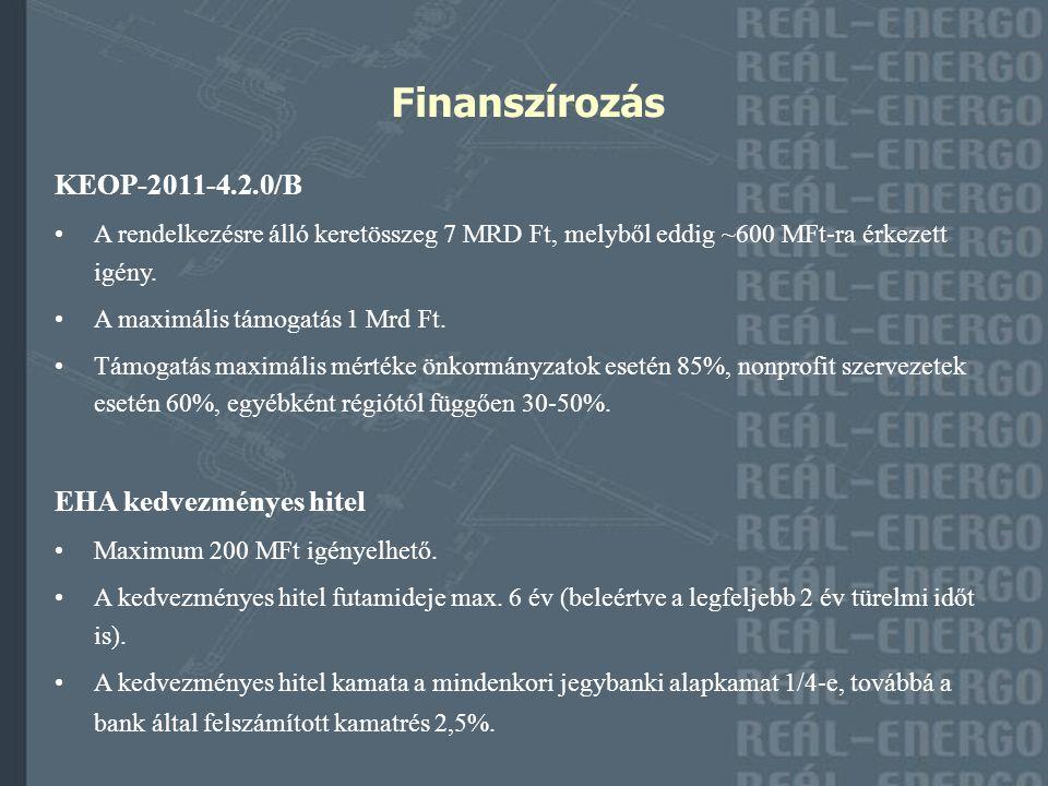 Finanszírozás KEOP-2011-4.2.0/B A rendelkezésre álló keretösszeg 7 MRD Ft, melyből eddig ~600 MFt-ra érkezett igény. A maximális támogatás 1 Mrd Ft. T