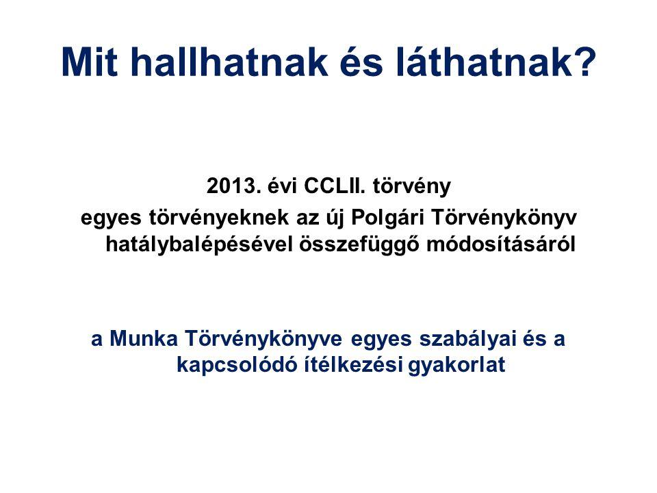 Mit hallhatnak és láthatnak? 2013. évi CCLII. törvény egyes törvényeknek az új Polgári Törvénykönyv hatálybalépésével összefüggő módosításáról a Munka