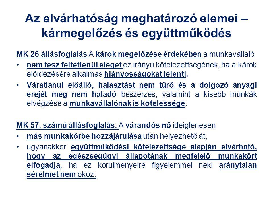 Az elvárhatóság meghatározó elemei – kármegelőzés és együttműködés MK 26 állásfoglalás A károk megelőzése érdekében a munkavállaló nem tesz feltétlenü