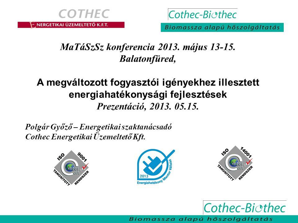 MaTáSzSz konferencia 2013. május 13-15. Balatonfüred, A megváltozott fogyasztói igényekhez illesztett energiahatékonysági fejlesztések Prezentáció, 20