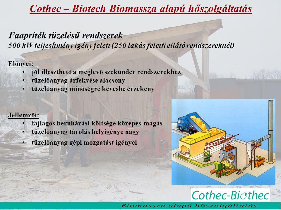 Cothec – Biotech Biomassza alapú hőszolgáltatás Faapríték tüzelésű rendszerek 500 kW teljesítmény igény felett (250 lakás feletti ellátó rendszereknél