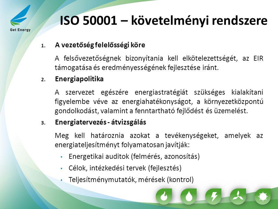 ISO 50001 – követelményi rendszere 1. A vezetőség felelősségi köre A felsővezetőségnek bizonyítania kell elkötelezettségét, az EIR támogatása és eredm