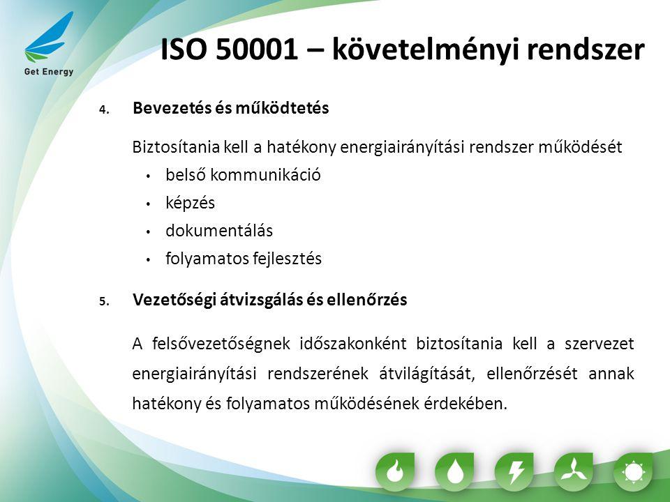 ISO 50001 – követelményi rendszer 4. Bevezetés és működtetés Biztosítania kell a hatékony energiairányítási rendszer működését belső kommunikáció képz