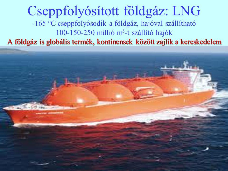 13 A földgáz is globális termék, kontinensek között zajlik a kereskedelem Cseppfolyósított földgáz: LNG -165 o C cseppfolyósodik a földgáz, hajóval sz