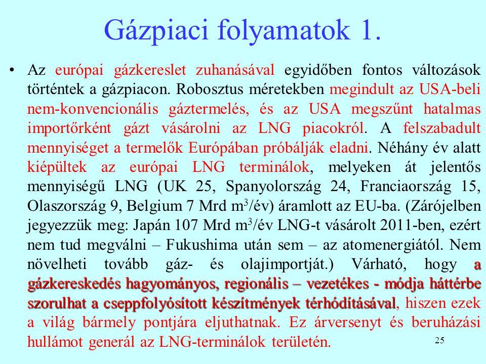 25 Gázpiaci folyamatok 1. a gázkereskedés hagyományos, regionális – vezetékes - módja háttérbe szorulhat a cseppfolyósított készítmények térhódításáva