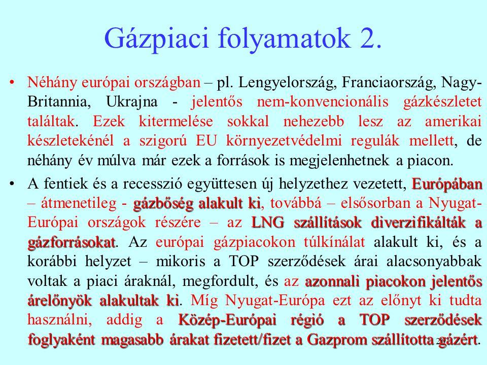 26 Gázpiaci folyamatok 2. Néhány európai országban – pl. Lengyelország, Franciaország, Nagy- Britannia, Ukrajna - jelentős nem-konvencionális gázkészl