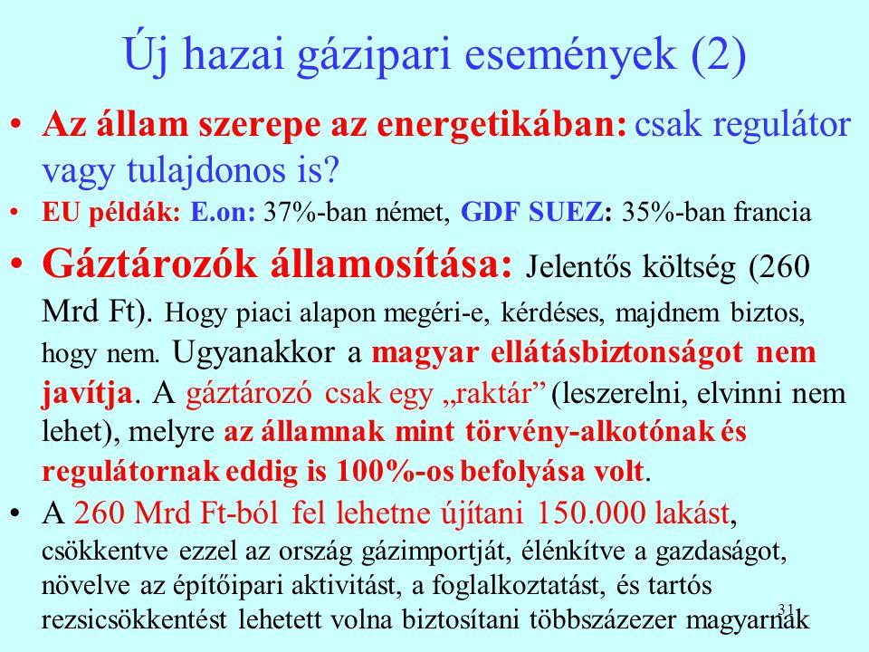 31 Új hazai gázipari események (2) Az állam szerepe az energetikában: csak regulátor vagy tulajdonos is? EU példák: E.on: 37%-ban német, GDF SUEZ: 35%