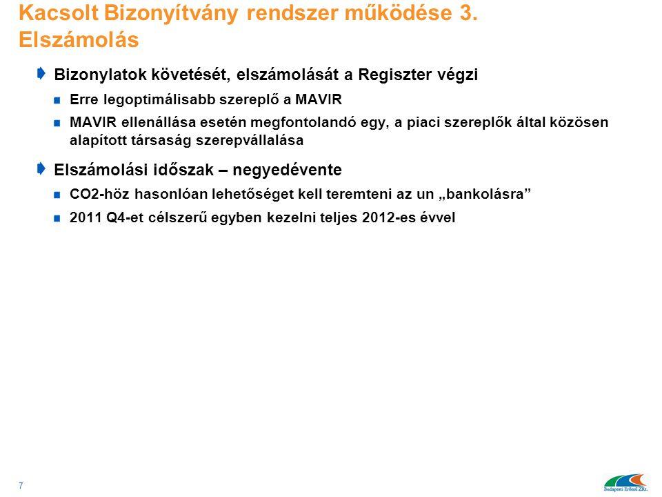 Kacsolt Bizonyítvány rendszer működése 3. Elszámolás Bizonylatok követését, elszámolását a Regiszter végzi Erre legoptimálisabb szereplő a MAVIR MAVIR