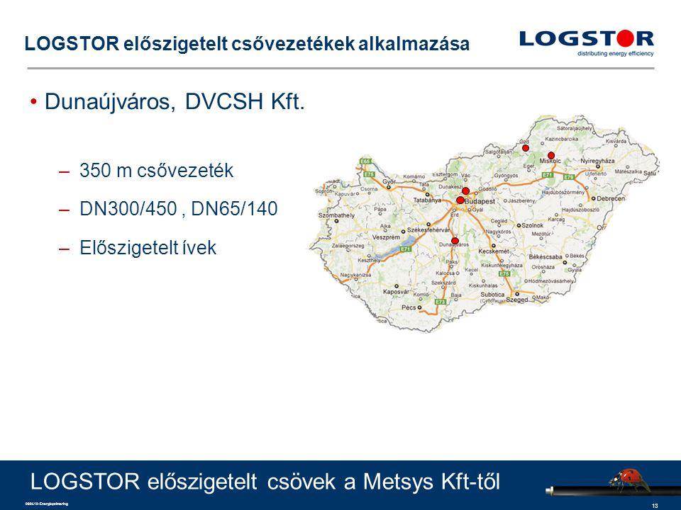 13 090610-Energioptimering LOGSTOR előszigetelt csővezetékek alkalmazása Dunaújváros, DVCSH Kft. –350 m csővezeték –DN300/450, DN65/140 –Előszigetelt