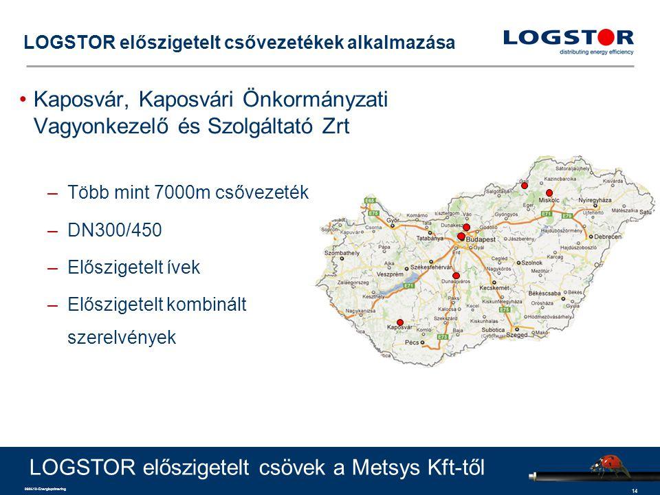 14 090610-Energioptimering LOGSTOR előszigetelt csővezetékek alkalmazása Kaposvár, Kaposvári Önkormányzati Vagyonkezelő és Szolgáltató Zrt –Több mint 7000m csővezeték –DN300/450 –Előszigetelt ívek –Előszigetelt kombinált szerelvények LOGSTOR előszigetelt csövek a Metsys Kft-től