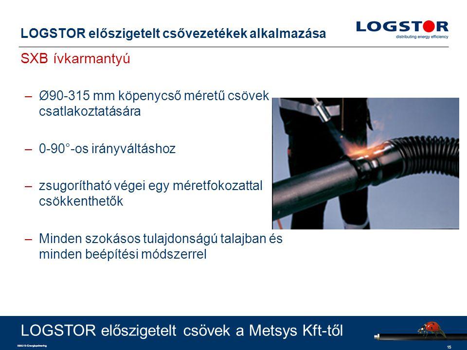 15 090610-Energioptimering LOGSTOR előszigetelt csővezetékek alkalmazása SXB ívkarmantyú LOGSTOR előszigetelt csövek a Metsys Kft-től –Ø90-315 mm köpe