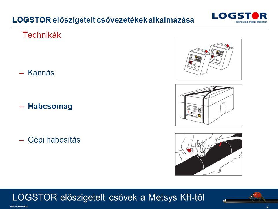16 090610-Energioptimering LOGSTOR előszigetelt csővezetékek alkalmazása Technikák LOGSTOR előszigetelt csövek a Metsys Kft-től –Kannás –Habcsomag –Gépi habosítás