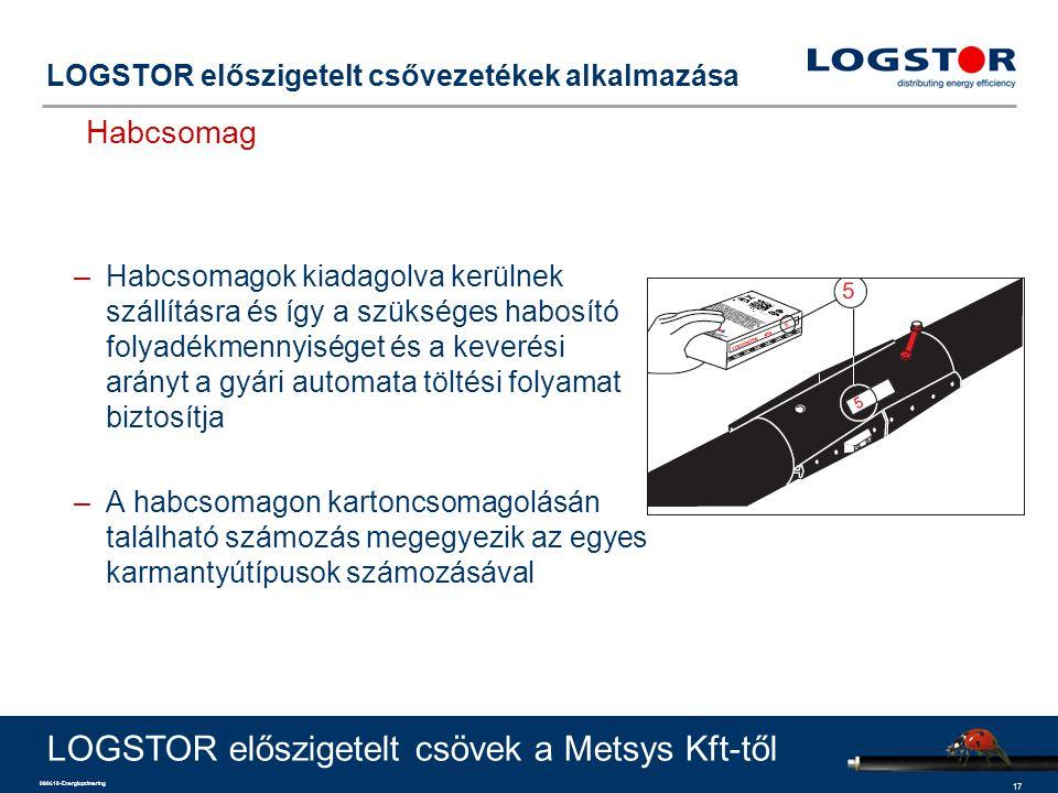 17 090610-Energioptimering LOGSTOR előszigetelt csővezetékek alkalmazása Habcsomag LOGSTOR előszigetelt csövek a Metsys Kft-től –Habcsomagok kiadagolva kerülnek szállításra és így a szükséges habosító folyadékmennyiséget és a keverési arányt a gyári automata töltési folyamat biztosítja –A habcsomagon kartoncsomagolásán található számozás megegyezik az egyes karmantyútípusok számozásával