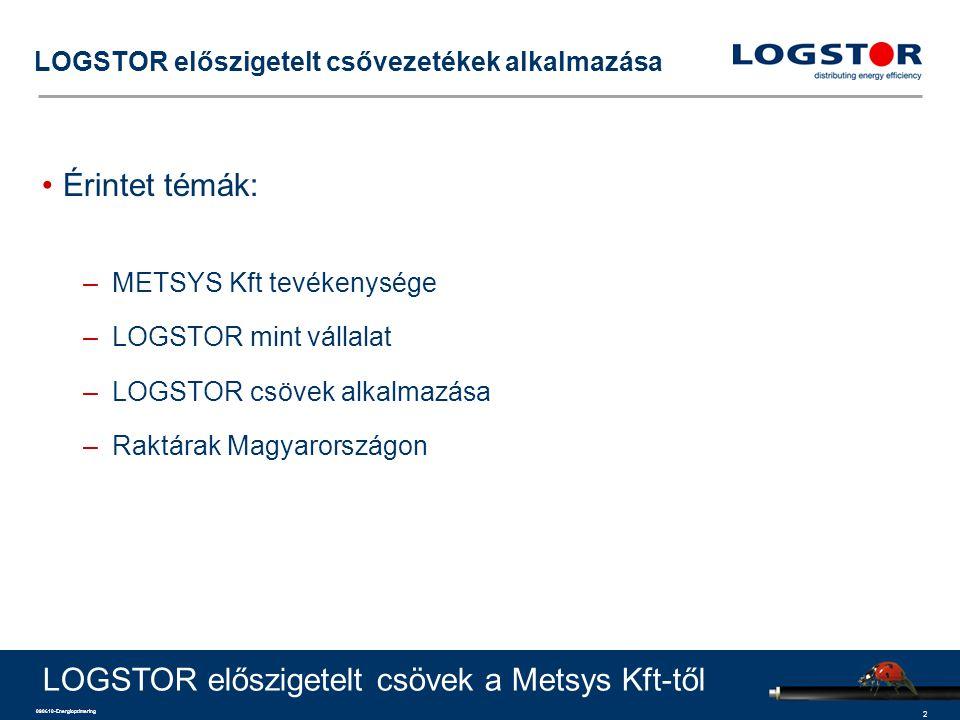 2 090610-Energioptimering LOGSTOR előszigetelt csővezetékek alkalmazása Érintet témák: –METSYS Kft tevékenysége –LOGSTOR mint vállalat –LOGSTOR csövek