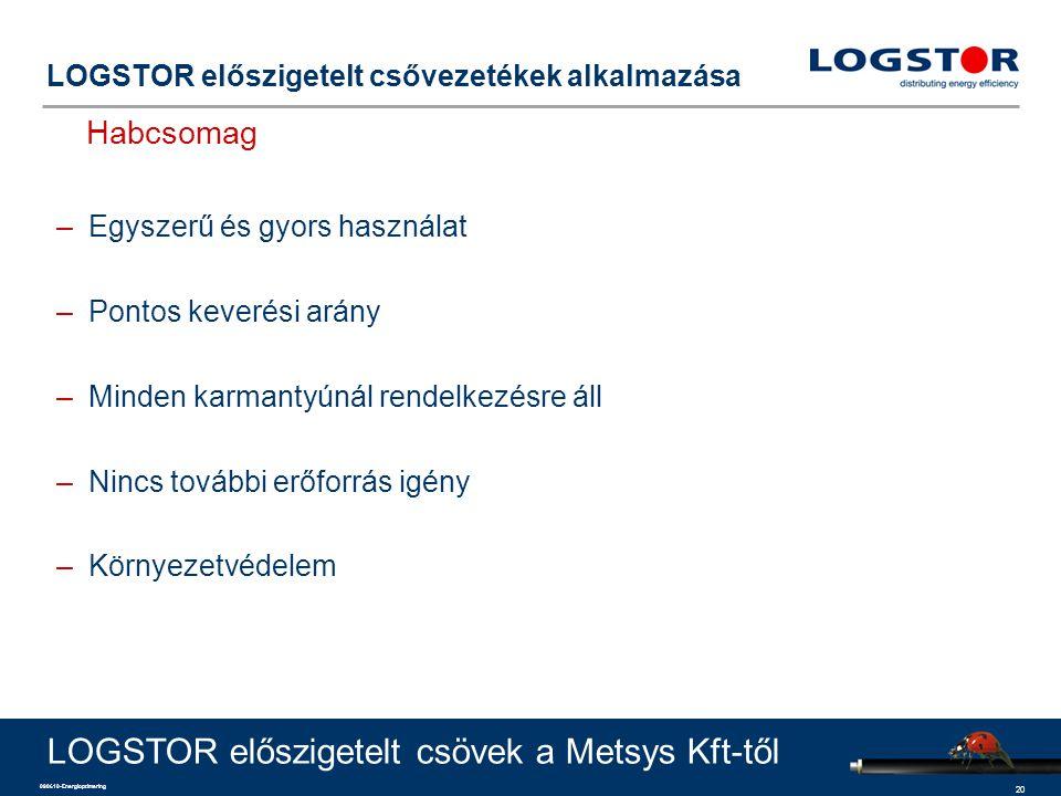 20 090610-Energioptimering LOGSTOR előszigetelt csővezetékek alkalmazása Habcsomag LOGSTOR előszigetelt csövek a Metsys Kft-től –Egyszerű és gyors használat –Pontos keverési arány –Minden karmantyúnál rendelkezésre áll –Nincs további erőforrás igény –Környezetvédelem