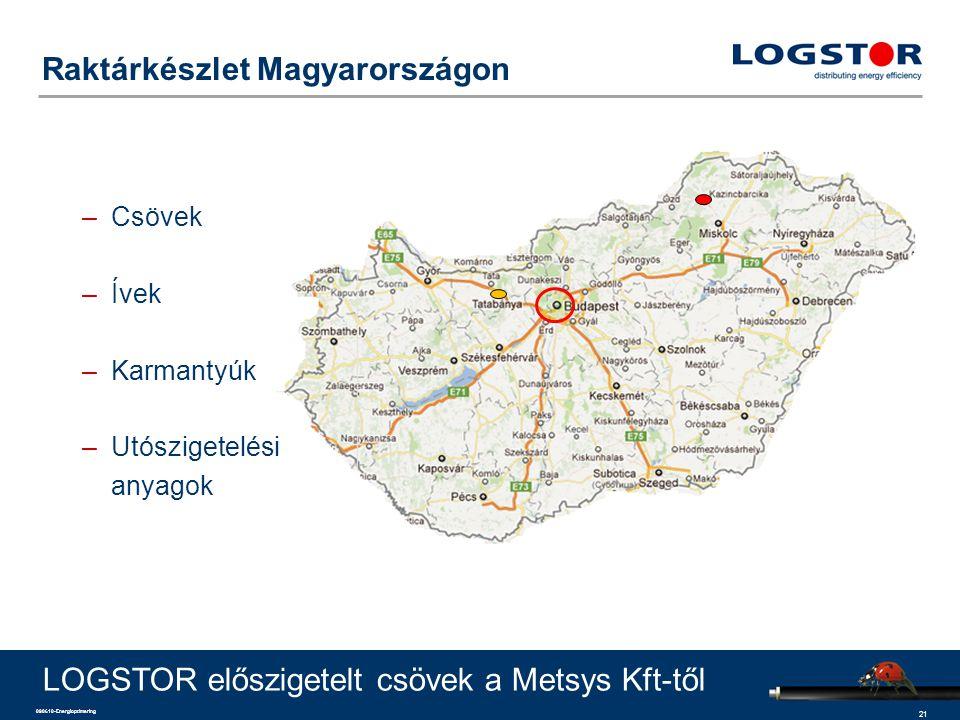 21 090610-Energioptimering Raktárkészlet Magyarországon LOGSTOR előszigetelt csövek a Metsys Kft-től –Csövek –Ívek –Karmantyúk –Utószigetelési anyagok
