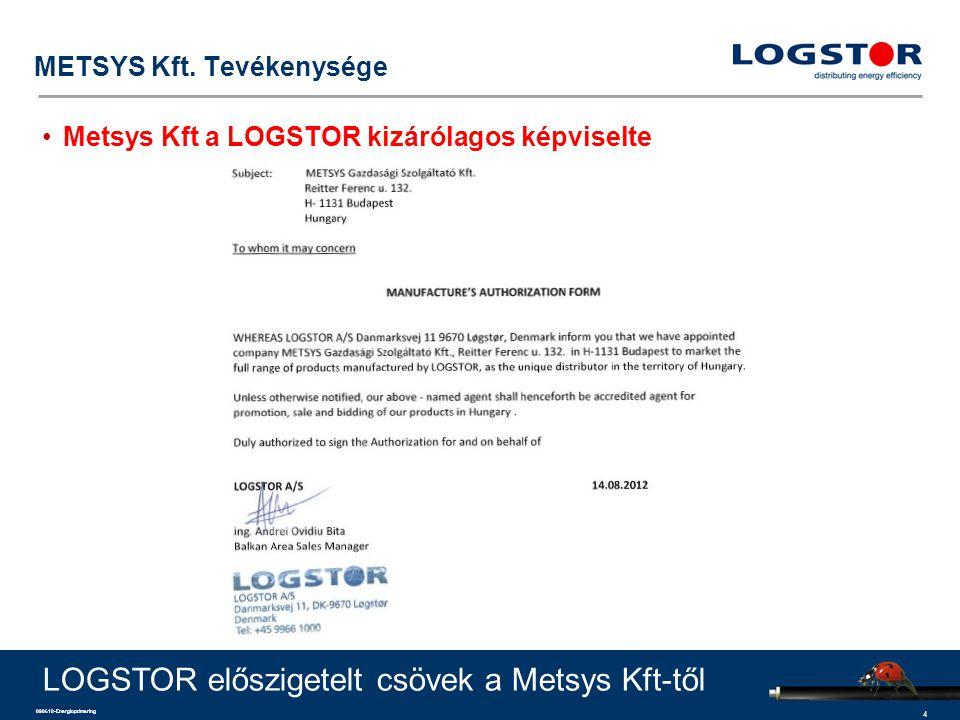 4 090610-Energioptimering METSYS Kft. Tevékenysége Metsys Kft a LOGSTOR kizárólagos képviselte LOGSTOR előszigetelt csövek a Metsys Kft-től