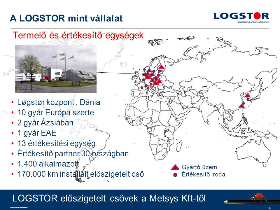 6 090610-Energioptimering Løgstør központ, Dánia 10 gyár Európa szerte 2 gyár Ázsiában 1 gyár EAE 13 értékesítési egység Értékesítő partner 30 országban 1.400 alkalmazott 170.000 km installált előszigetelt cső A LOGSTOR mint vállalat Termelő és értékesítő egységek LOGSTOR előszigetelt csövek a Metsys Kft-től Gyártó üzem Értékesítő iroda