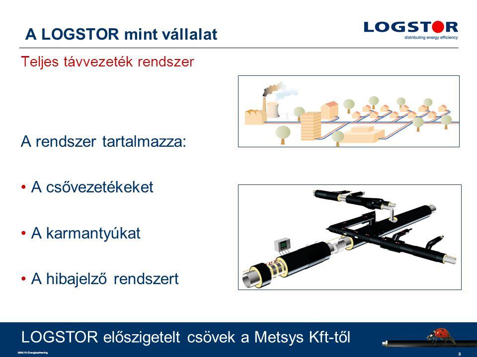 8 090610-Energioptimering A LOGSTOR mint vállalat Teljes távvezeték rendszer A rendszer tartalmazza: A csővezetékeket A karmantyúkat A hibajelző rends