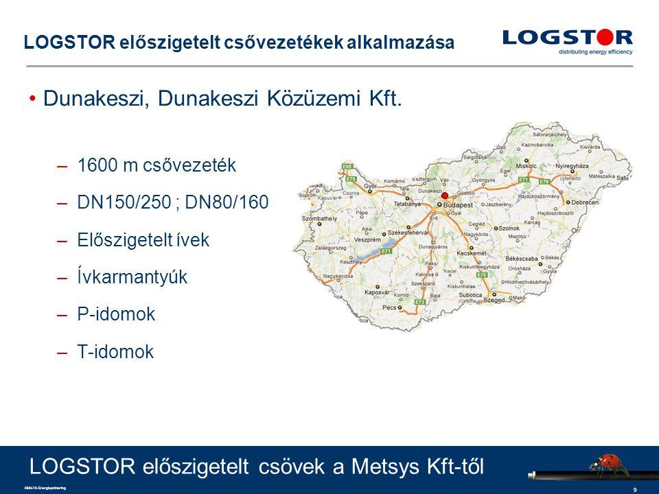 9 090610-Energioptimering LOGSTOR előszigetelt csővezetékek alkalmazása Dunakeszi, Dunakeszi Közüzemi Kft. –1600 m csővezeték –DN150/250 ; DN80/160 –E