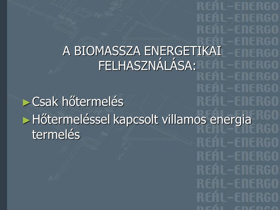 A BIOMASSZA ENERGETIKAI FELHASZNÁLÁSA: ► Csak hőtermelés ► Hőtermeléssel kapcsolt villamos energia termelés