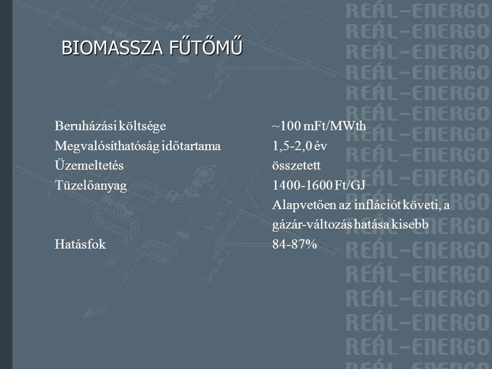 BIOMASSZA FŰTŐMŰ BIOMASSZA FŰTŐMŰ Beruházási költsége~100 mFt/MWth Megvalósíthatóság időtartama1,5-2,0 év Üzemeltetésösszetett Tüzelőanyag1400-1600 Ft/GJ Alapvetően az inflációt követi, a gázár-változás hatása kisebb Hatásfok84-87%