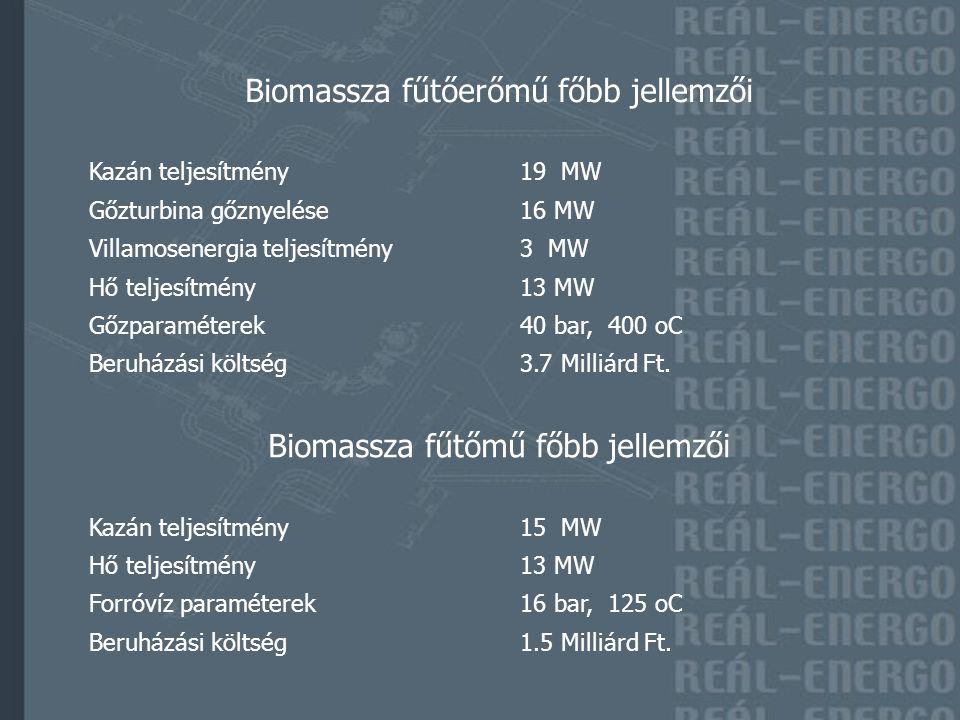 Biomassza fűtőerőmű főbb jellemzői Kazán teljesítmény 19 MW Gőzturbina gőznyelése 16 MW Villamosenergia teljesítmény 3 MW Hő teljesítmény 13 MW Gőzparaméterek 40 bar, 400 oC Beruházási költség 3.7 Milliárd Ft.
