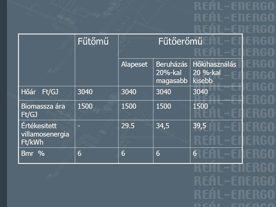 FűtőműFűtőerőmű AlapesetBeruházás 20%-kal magasabb Hőkihasználás 20 %-kal kisebb Hőár Ft/GJ3040 Biomassza ára Ft/GJ 1500 Értékesitett villamosenergia Ft/kWh -29.534,539,5 Bmr %6666