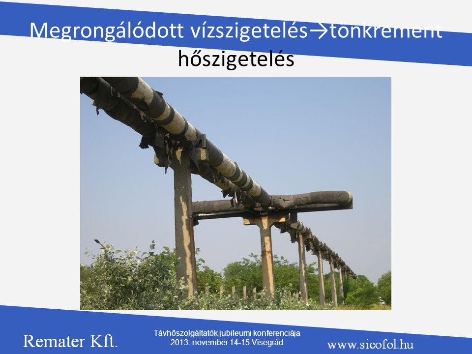 Megrongálódott vízszigetelés→tönkrement hőszigetelés Távhőszolgáltatók jubileumi konferenciája 2013. november 14-15 Visegrád